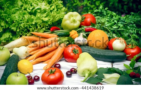 Healthy organic food - fresh fruits and vegetables