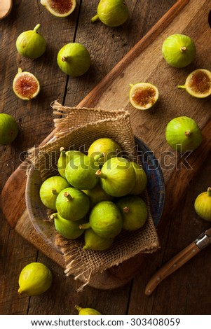 Healthy Organic Green Figs in a Bowl - stock photo