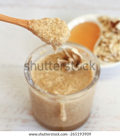 Healthy organic ingredients for homemade face and body scrub - stock photo