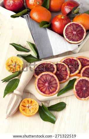 Healthy Organic Ripe Blood Orange  - stock photo