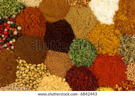 Healthy organic spices and herbs - stock photo