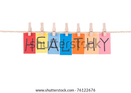 Healthy, paper words card hang by wooden peg