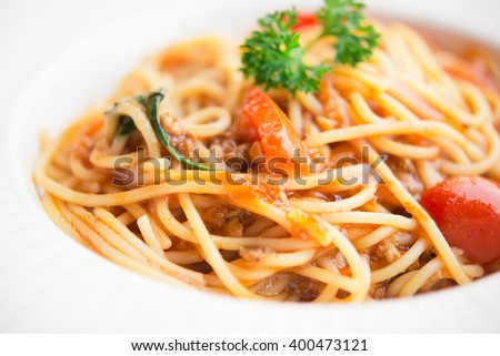 Healthy plate of Italian spaghetti topped with a tasty tomato and ground beef - stock photo