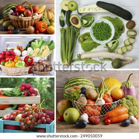 Healthy products in collage - stock photo
