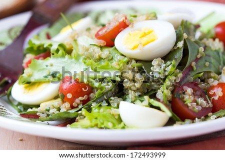 Healthy quinoa salad with tomatoes, avocados, eggs, herbs, lettuce, lemon, diet dish - stock photo