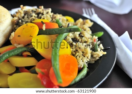 Healthy rice and vegetable set meal suitable for a diet meal. - stock photo