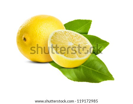 Healthy ripe lemon and leaves on white background.