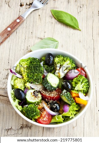 Healthy Salad with Broccoli, Cucumber, Red Onion, Lettuce,Tomatoes and Olives  - stock photo