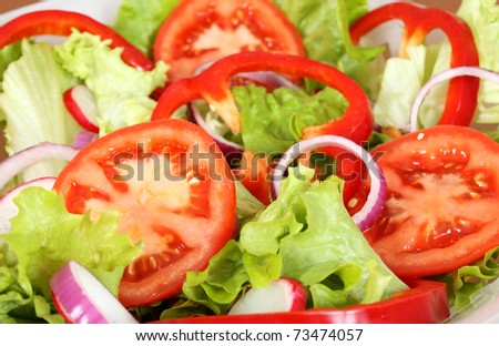 Healthy salad with fresh vegetables - stock photo