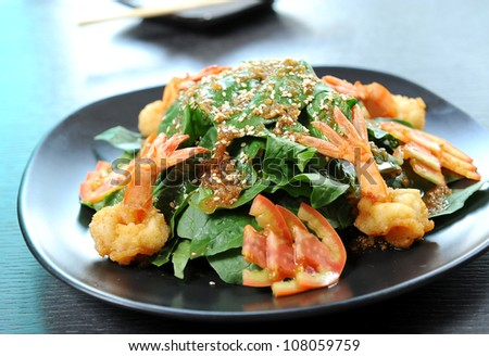 Healthy Salad with Shrimps - stock photo