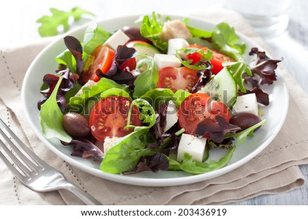 healthy salad with tomatoes olives and feta cheese  - stock photo