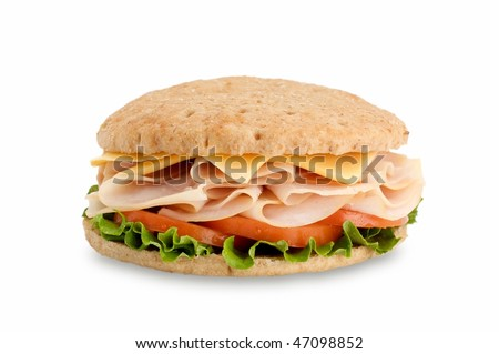 Healthy sandwich on thin bread isolated on white background
