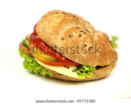 Healthy sandwich on white background - stock photo