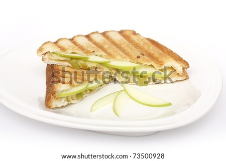 Healthy sandwich with apple and cheese - stock photo