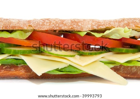 Healthy sandwich with cheese and a diversity of vegetables