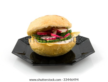 Healthy sandwich with cucumber and radish isolated on white background
