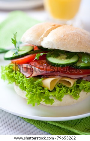 Healthy sandwich with fresh vegetables - stock photo