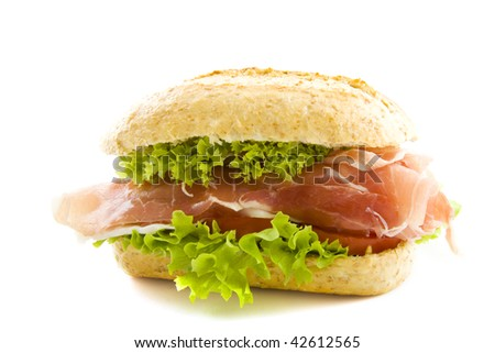 Healthy sandwich with ham and salad isolated over white