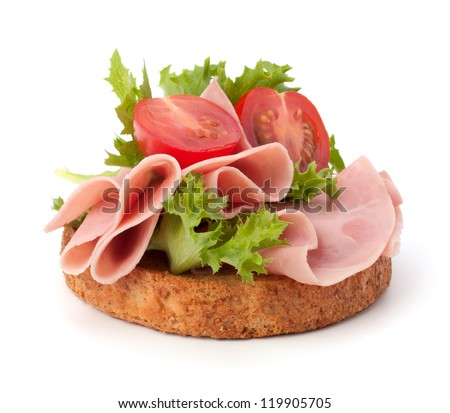 healthy sandwich with vegetable and smoked ham  isolated on white background - stock photo