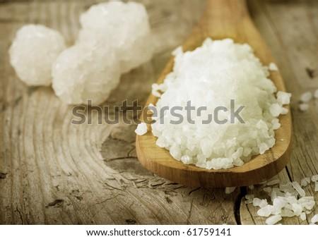 Healthy Sea Salt closeup - stock photo