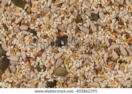 Healthy seeds mix close up shot for background - stock photo