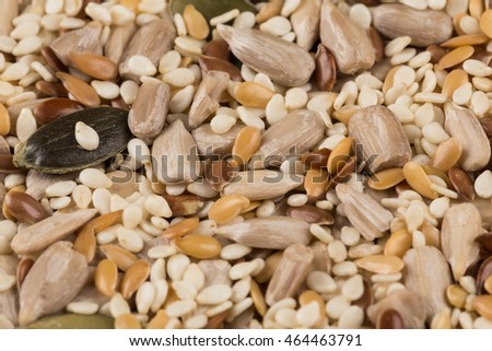 Healthy seeds mix close up shot for background