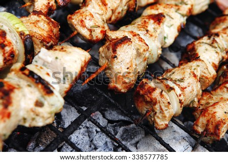 healthy shish kebab - grilled bbq chicken turkish meat on skewers over charcoal brazier outdoor - stock photo