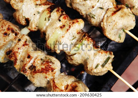 healthy shish kebab - ready grill barbecue chicken turkish meat on skewers over charcoal brazier outdoor - stock photo