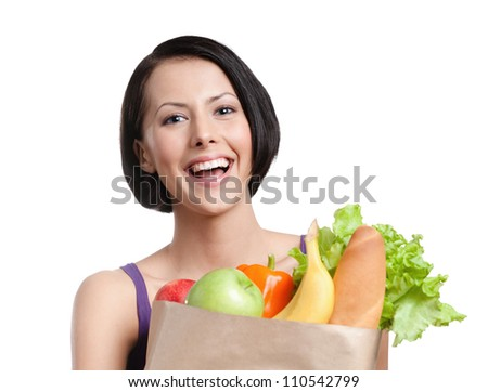 Healthy shopping, Isolated, white background - stock photo