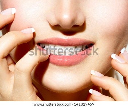 Healthy Skin, Manicured Nails and White Teeth closeup. Beauty Girl, Healthy Young Woman close-up. Teeth Whitening Concept - stock photo