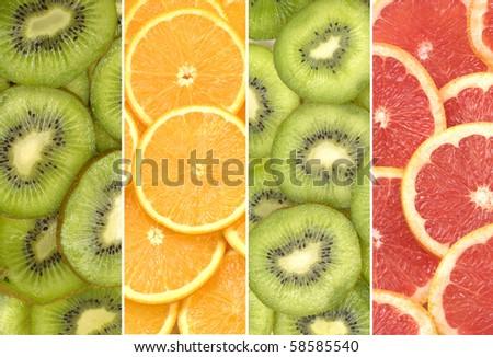healthy sliced citruses - stock photo
