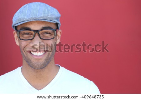 Healthy Smile. Teeth Whitening. Beautiful Smiling Young man Portrait close up. Over modern red background . Laughing businessman with Perfect Shin. Copy Space available for adding text - stock photo