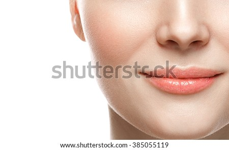 Healthy Smile. Woman Smile Closeup. Beautiful Lips Healthy skin concept  - stock photo