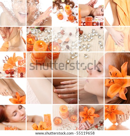 healthy spa collage - stock photo