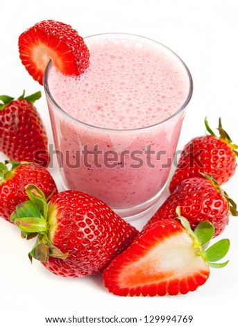 healthy strawberry smoothie isolated on white background - stock photo