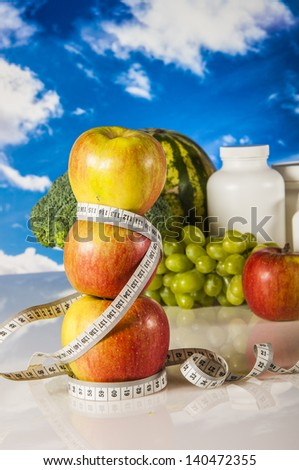Healthy style on the bright blue sky background