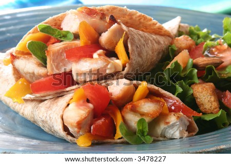 Healthy summer meal, grilled chicken and vegetables wrapped in a whole wheat tortilla. - stock photo