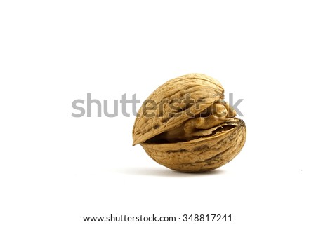 healthy tasty nourishing walnuts isolated on white background - stock photo