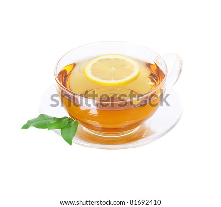 healthy tea cup on white background