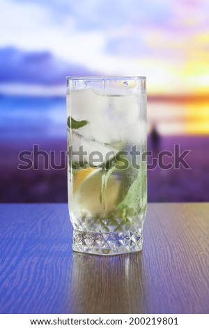 Healthy tea with mint leaves - stock photo