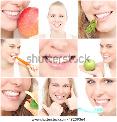 healthy teeth and eating collage - stock photo