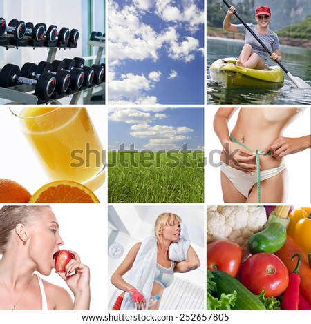 healthy theme collage composed of different images - stock photo