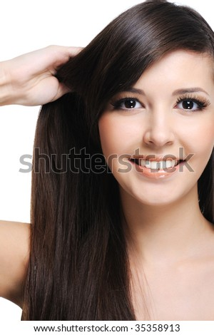 healthy thick straight hair of young beautiful woman - stock photo