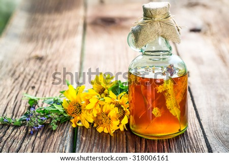 Healthy tincture in bottles with herbs and alcohol - stock photo
