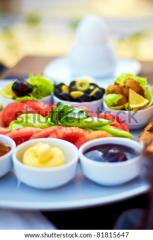 Healthy Turkish breakfast in the bright morning. - stock photo