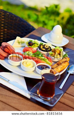 Healthy Turkish style breakfast in the morning. - stock photo