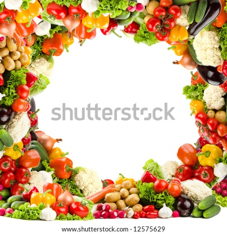 Healthy vegetable circular frame in high resolution - stock photo