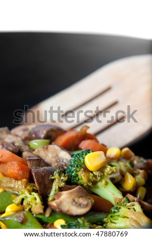 healthy vegetable in a wok - asian style
