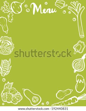 Healthy Vegetable Menu Template White Outlines on Green Background - stock photo