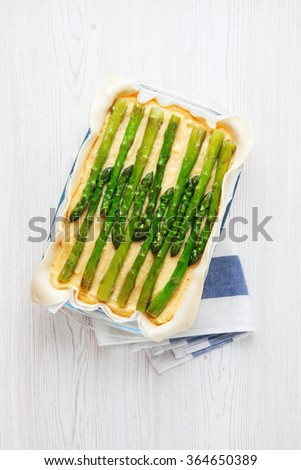 healthy vegetable pie with asparagus and potatoes. vegetarian dish. - stock photo